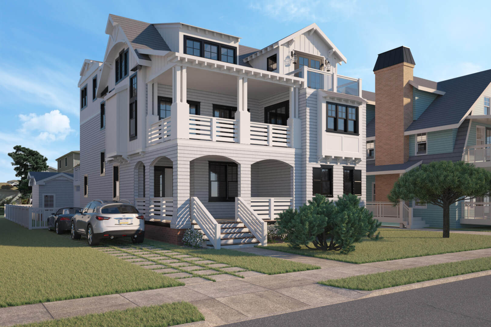 Exterior 3D architectural rendering and visualization